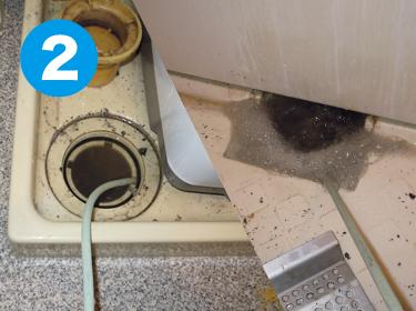 大阪府枚方市の排水詰まり・排水トラブル対応なら株式会社ワイエスの排水管清掃の実績(洗濯・浴室排水同時詰まり)