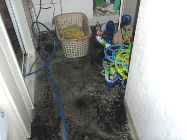 脱衣場が逆流により水浸し